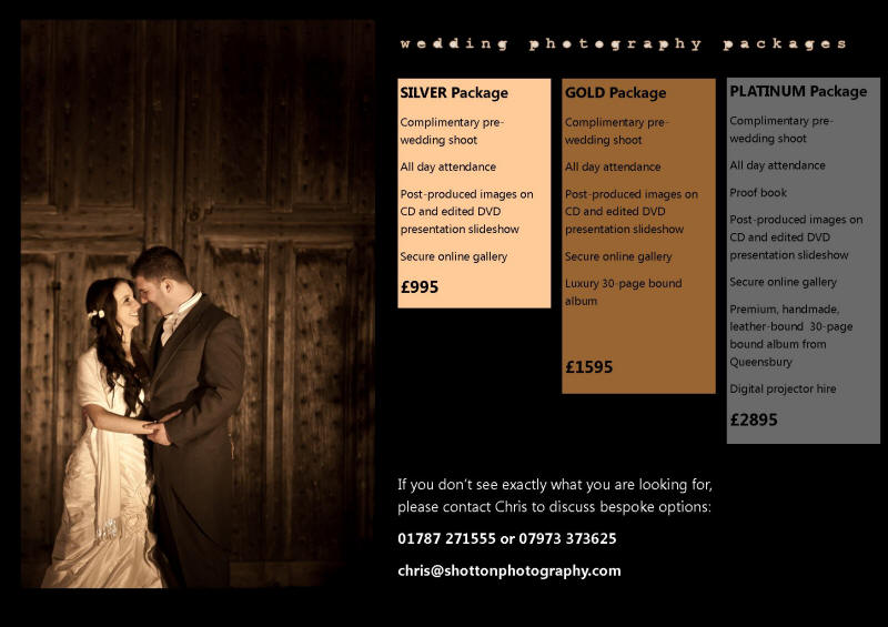 pricing for essex wedding photographer