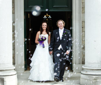 Bride and Groom leaving Brentwood Cathedral essex wedding